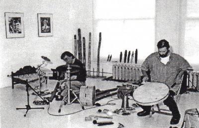 Pierre Chartier ATELIER DE DIDGERIDOO © Pierre Chartier et René Brind'Amour, atelier de Didgeridoo à la Galerie B-312, 2000.